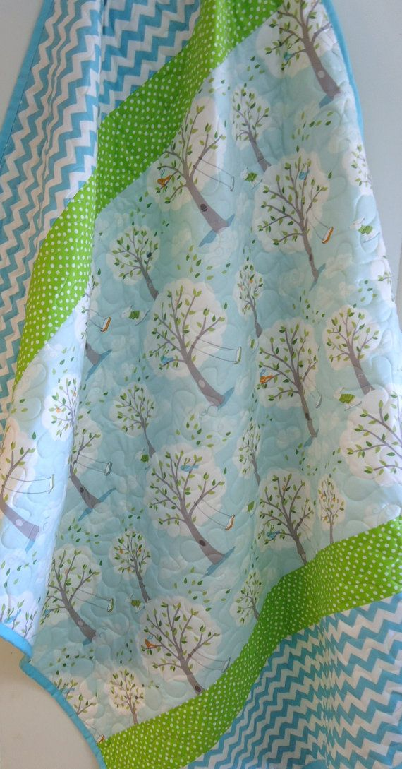 Baby Quilt, Modern Patchwork Baby Blanket, Gender Neutral, Chevron, Backyard Baby Windy Day, Turquoise, Lime Green
