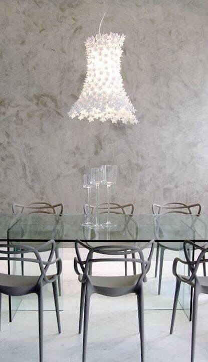 Love this light although don't know the designer/maker. The chairs are awesome - Philippe Starck
