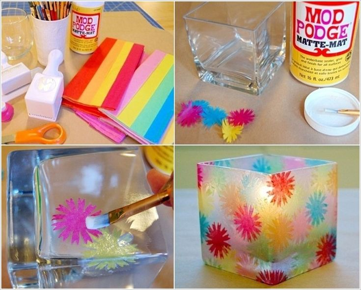 Would You Make this Stained Glass Candle Holder Using Tissue Paper?