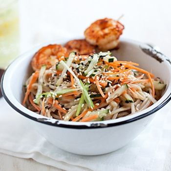 Cold Sesame Noodles with Butter Pepper Shrimp Recipe - ZipList