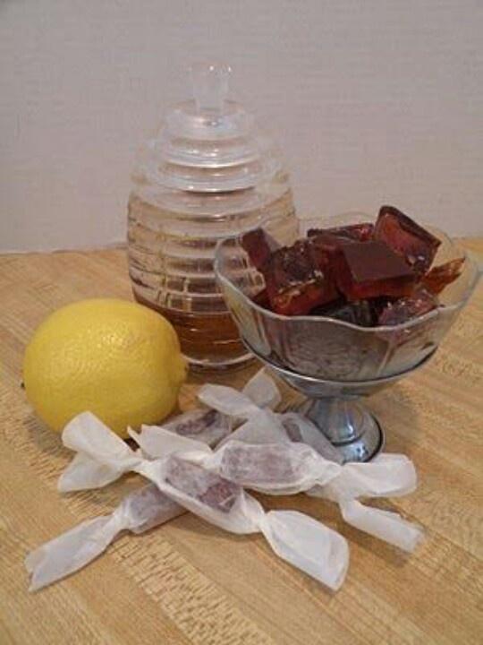 Honey lemon drops for colds/sore throats