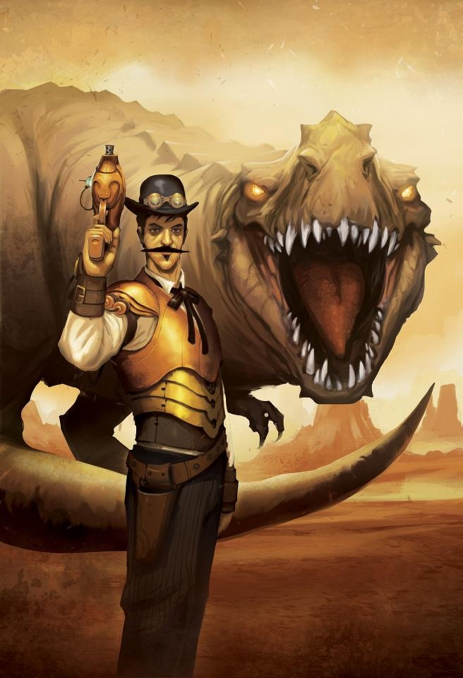 Steampunk Tendencies | Cover Art for Mike Resnick's upcoming Wierd West novel published by Pyr Books - Andrew Bosley http://steampunktendencies.tumblr.com/post/48153073196/steampunk-tendencies-dinosaur-hunter