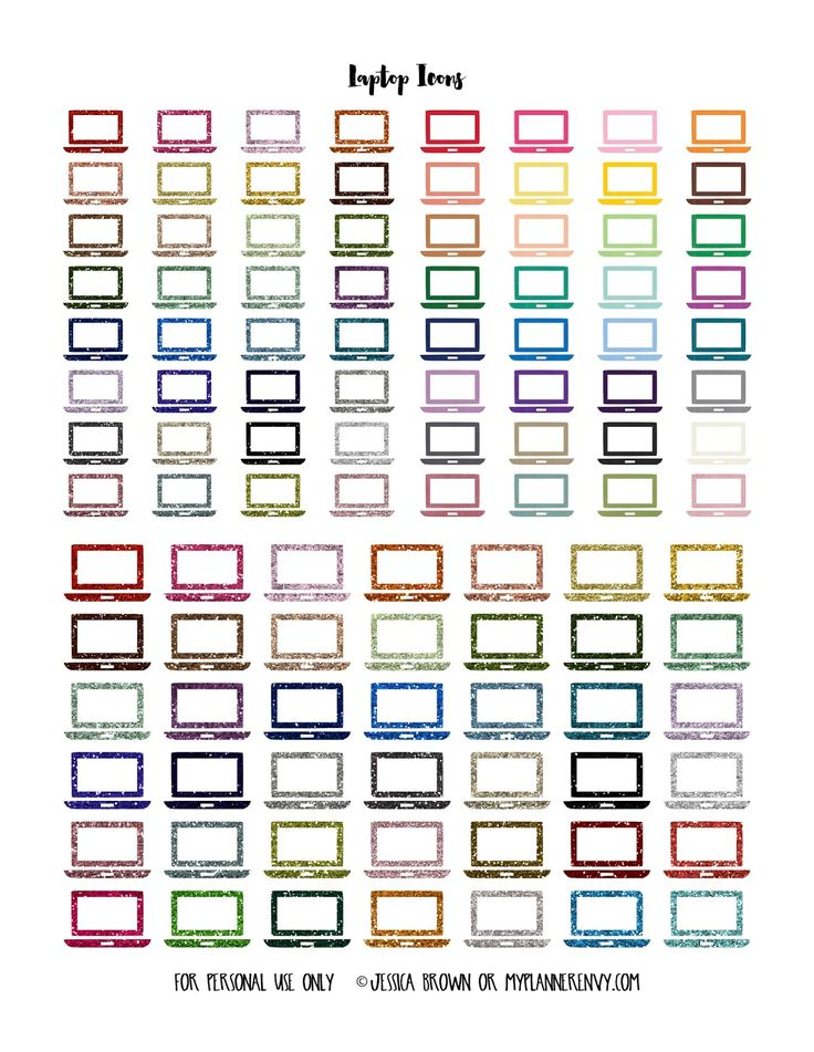 Free printable small and medium Solid and Glitter Laptop Icons from myplannerenvy.com