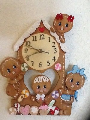 HP GINGERBREAD ~ ADORABLE GINGERBREAD CLOCK!! IT'S GINGERBREAD TIME!! in Crafts, Handcrafted & Finished Pieces, Handpainted Items | eBay
