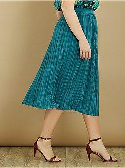 Skirt - Pleated satin-effect midi skirt - Kiabi