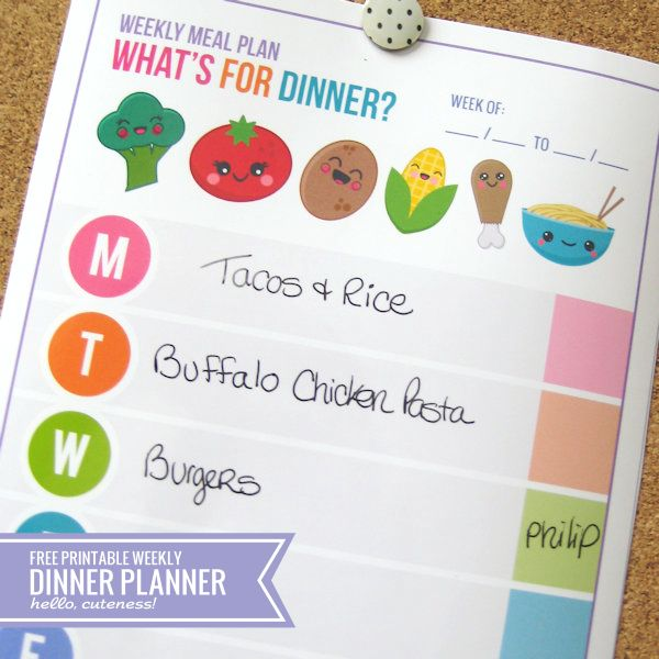 Hellocuteness (dot) com (slash) blog Weekly Meal Plan: What's For Dinner? -- Super Cute Free Printable! Laminate, get some magnetic tape from the Dollarama, stick it to your fridge and use dry erase markers to save the trees!