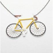 yellow racing bike necklace