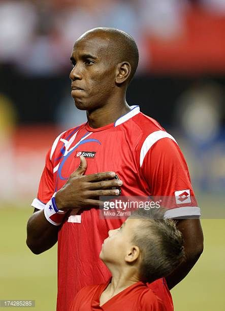 Leonel Parris of Panama pauses for the national anthem before the CONCACAF Gold Cup quarterfinal game against Cuba at the Georgia Dome on July 20...