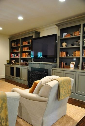 Fireplaces grey and fireplace built ins on pinterest - Living room built in ideas ...