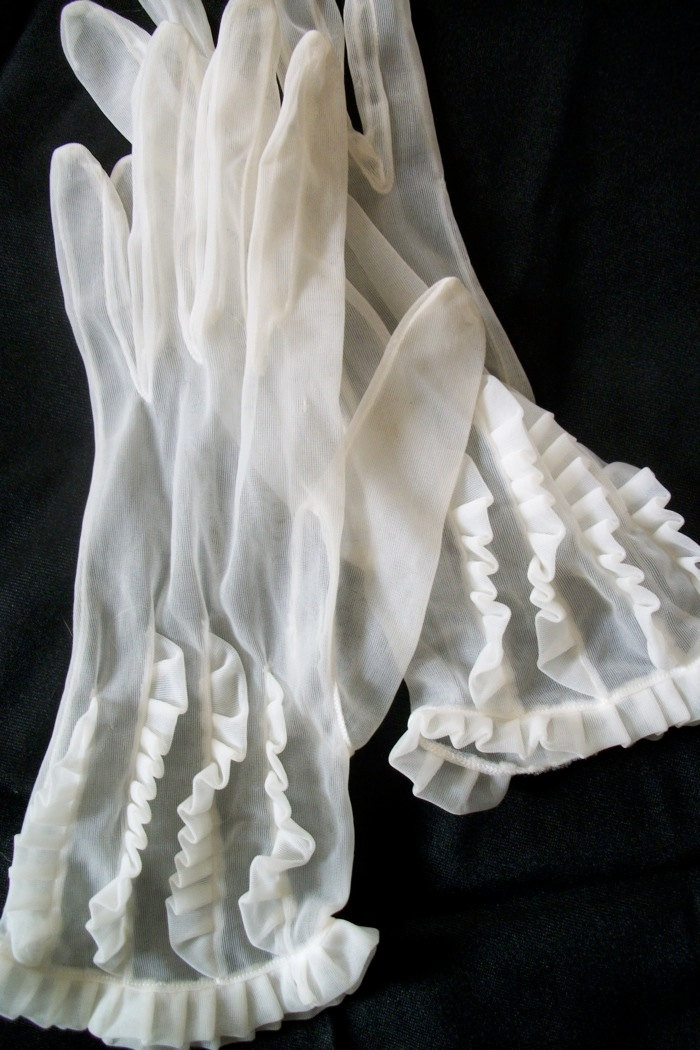Antique Sheer Ladies Gloves With Ruffles by folkcity on Etsy, $12.50