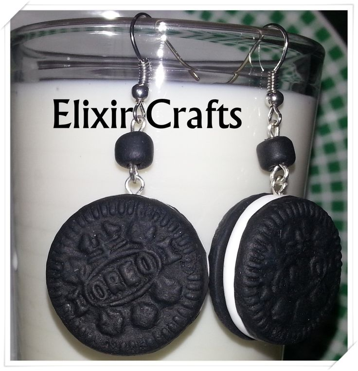 Black White Cream Mini OREO Cookies / Polymer Clay Earrings / Dangle OREO Earrings / Super Cute Yummy Realistic OREO Earrings / Kawaii
