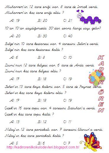 ilkokul ödevleri: 1.sınıf Matematik test 2