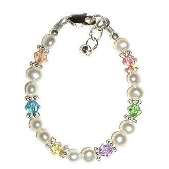 Baby Bracelet Gift (Pearl w/Pastel Crystal)