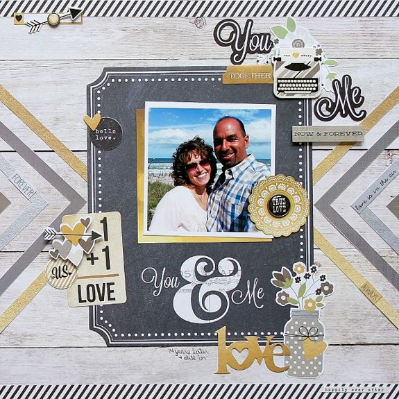 #papercraft #Scrapbook #layout. You Me **Simple Stories DT** - Scrapbook.com - Made with Simple Stories The Story of Us collection.