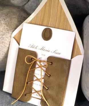 invitation leather sued wrap brown mocha color faux bois liner envelope wedding event natural elegant