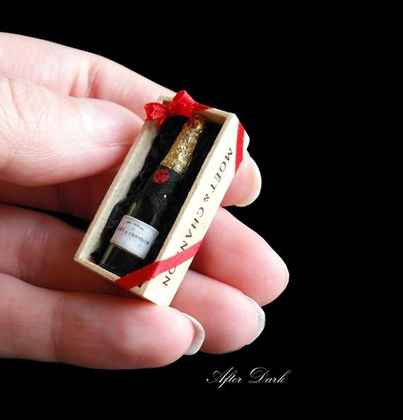 Moet and Chandon Champagne - boxed - Artisan fully Handmade Miniature in 12th scale. From After Dark miniatures.. $34.99, via Etsy.