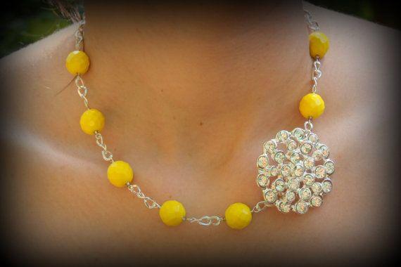 Bridesmaid GiftYellow Bridesmaid JewelryYellow by dreamdaydesign, $29.99  #yellownecklace #bridesmaid gift #yellowbridesmaidnecklace