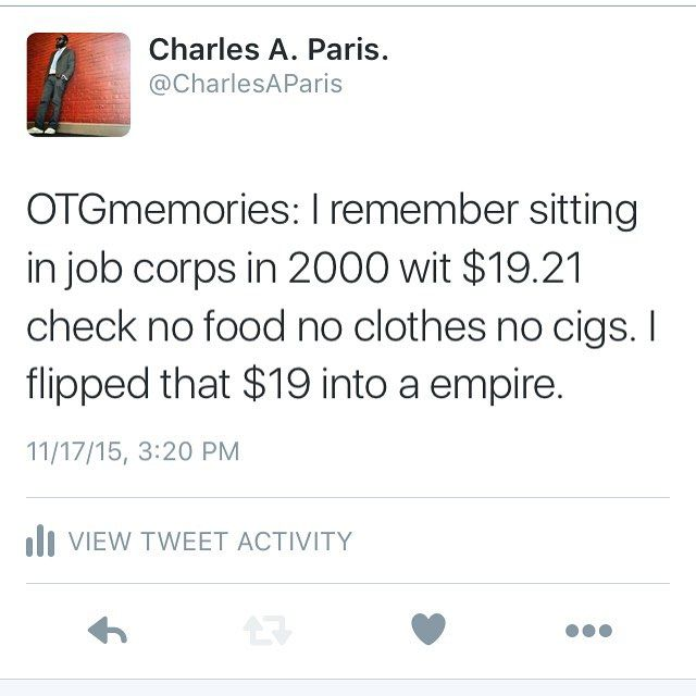 I took that $19.21 bought cigs noodles little Debbie's and plastic forks. Waited until a non pay week sold everything double on credit. $1 loosie $1 noodles $1snacks. Took that money and my check doubled up for 2 weeks and then I bought a couple pints of dark eyes vodka and 12 cans of Sprite. Mixed them up sold them $10 a can $20 on credit (people would owe 3 months a checks) when I graduated I never wanted nothing left wit 3000 cash and bought a 83 delta 88 took the 3000 start investing in…