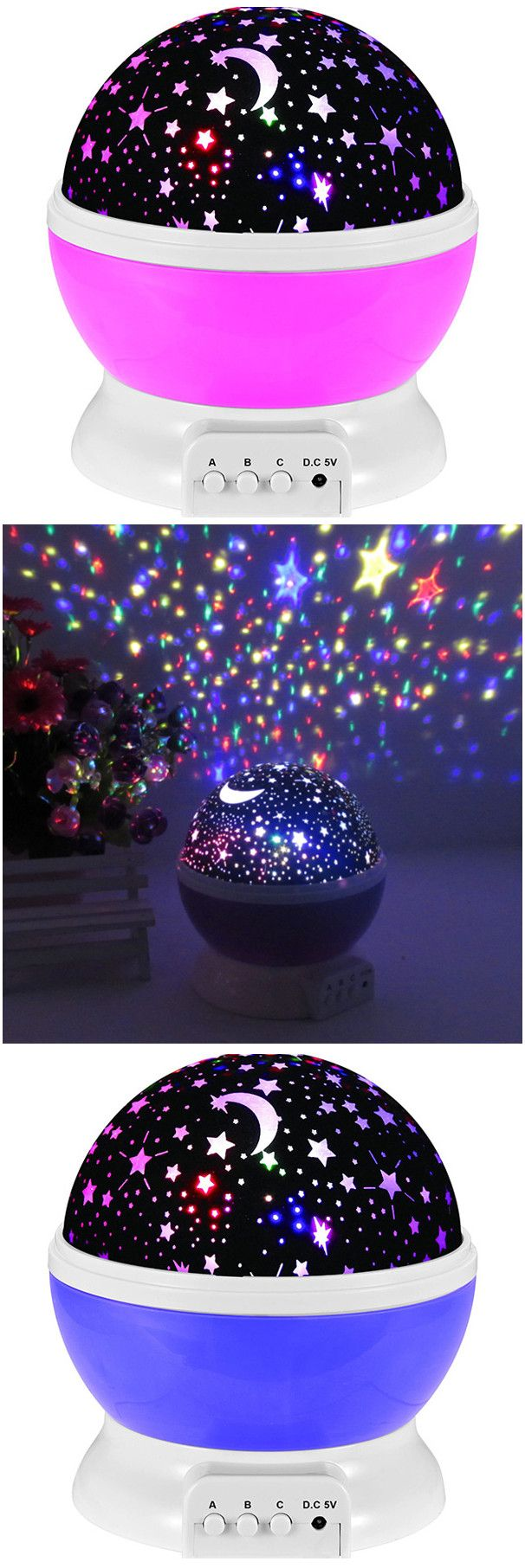 $10.97 Mew Starry Sky Babysbreath Autorotation LED Night Light