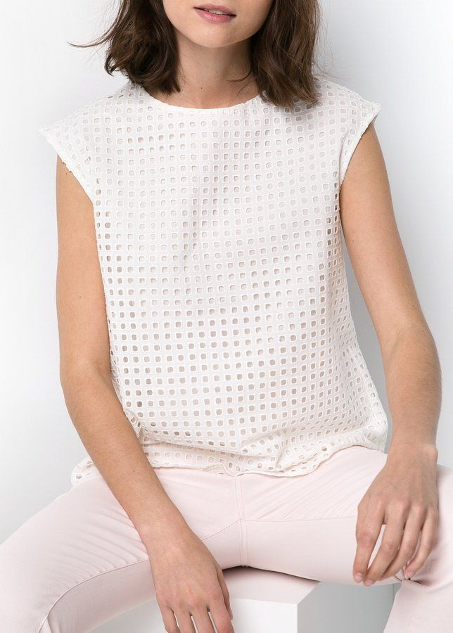 Pin for Later: 15 So-Not-Boring Work Blouses Mango Eyelet Top Mango Broderie Anglaise Top ($50)