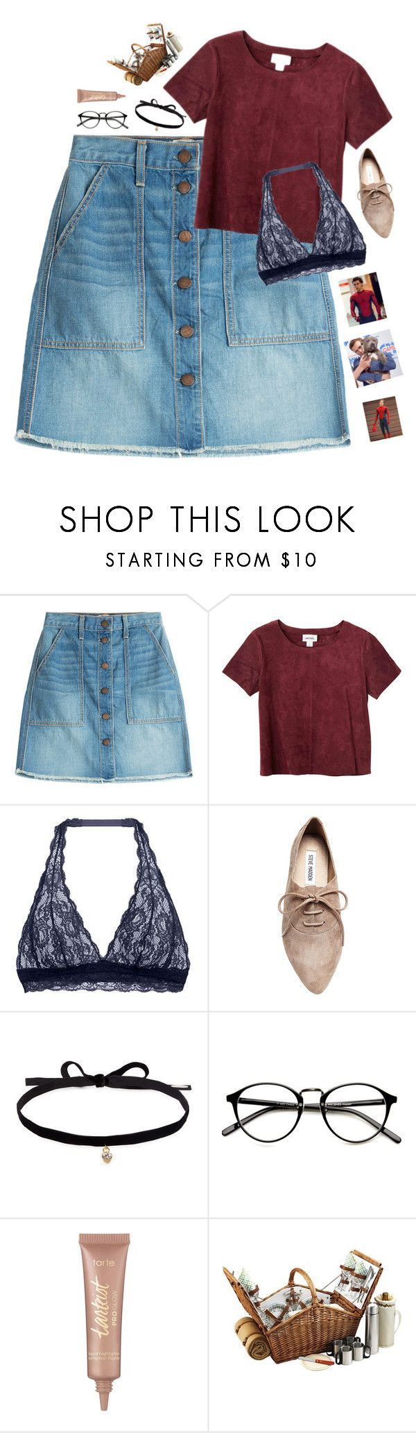"""""""Picnic with Peter Parker 🕷🕸/// rtd???"""" by simplylovelyruru ❤ liked on Polyvore featuring Current/Elliott, Monki, Cosabella, Steve Madden, Joomi Lim, tarte and Marvel"""