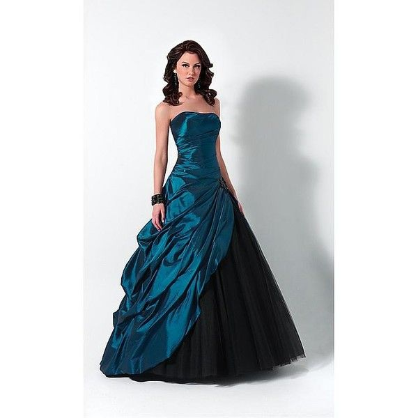 Elegant Taffeta Ball Gown Strapless Prom Dress In Fashion Design ($257,131) ❤ liked on Polyvore featuring dresses, gowns, black, black dress, black evening dresses, black prom dresses, black strapless dress and prom gowns