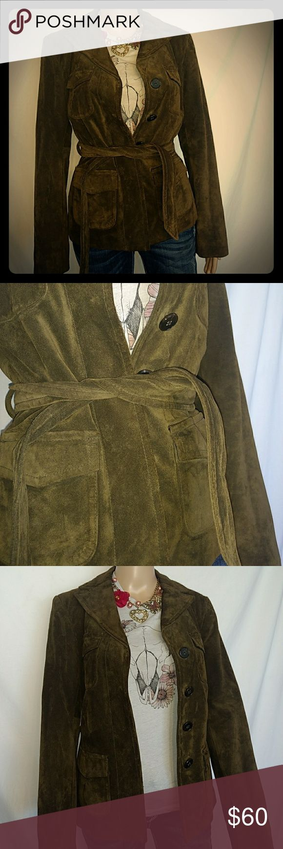 NWOT Ann Taylor Green Suede Leather Military Green suede leather military jacket never worn. Great for layering or over a black little dress. Ann Taylor Jackets & Coats