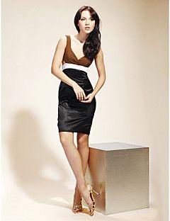 Tubinho Decote V Curto / Mini Chiffon Cetim Coquetel Reunião de Classe Vestido com Botões Drapeado Lateral de TS Couture®