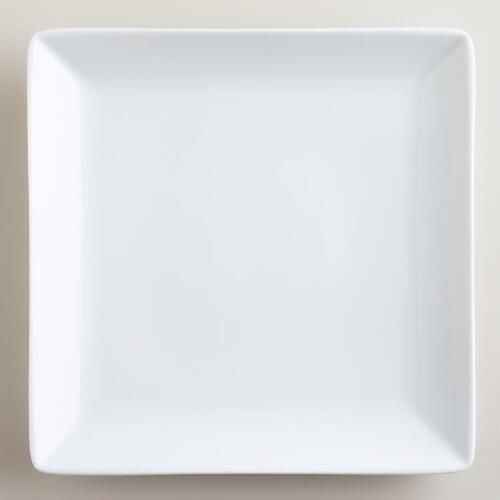One of my favorite discoveries at WorldMarket.com: White Coupe Square Dinner Plates, Set of 4