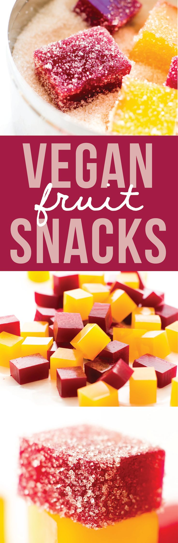 These homemade vegan fruit snacks are a fun healthy gummy treat for kids or adults that you can make in any fruity flavor or shape with just 3 ingredients!