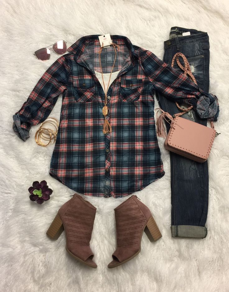 Penny Plaid Flannel Top: Navy/Pink from privityboutique