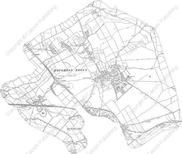 HOUGHTON REGIS 1911 civil Parish Boundary   Created from Ordnance Survey County Series maps first published 1899-1900