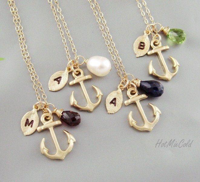 FOUR Initial Anchor Necklace, Monogram Birthstone Necklace, Monogram Leaf charm Jewelry, Marine Wedding Theme, Nautical bridesmaid gifts. $125.00, via Etsy.