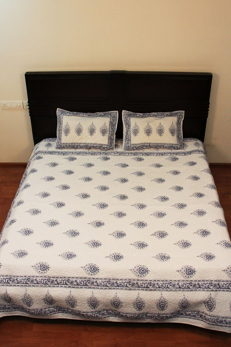 Indian Traditional Printed Home Furnishings Quilt Pillow Bedding Cotton Queen Size Sheet