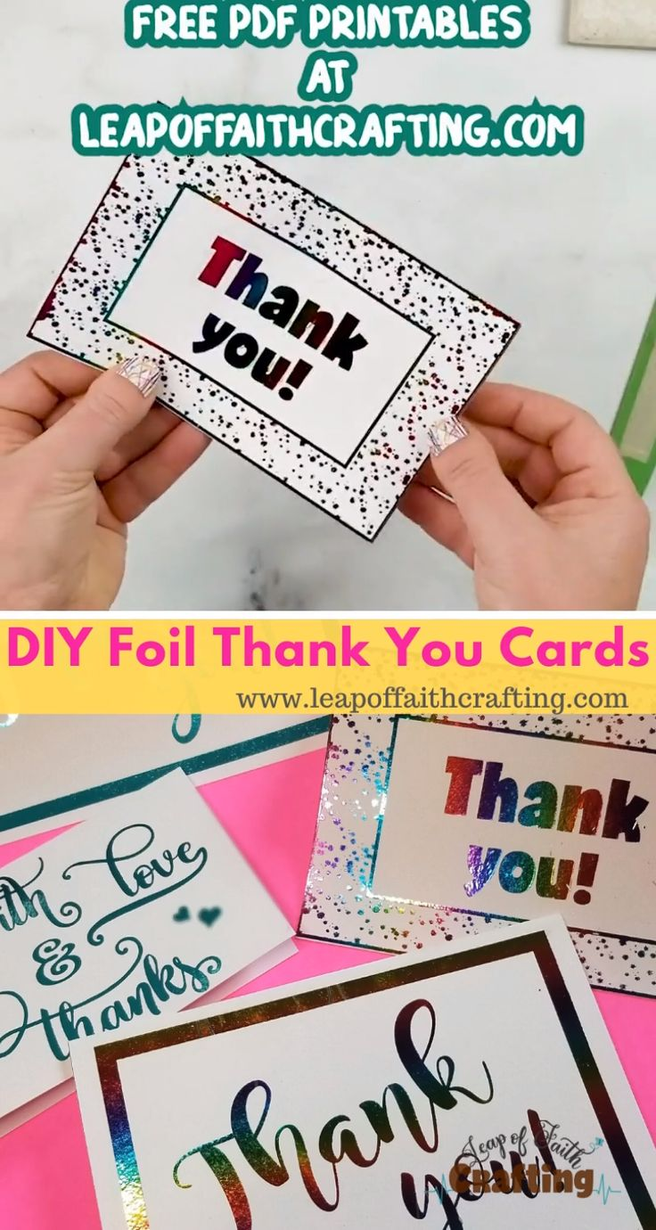 diy foil card easy and cute thank you cards video