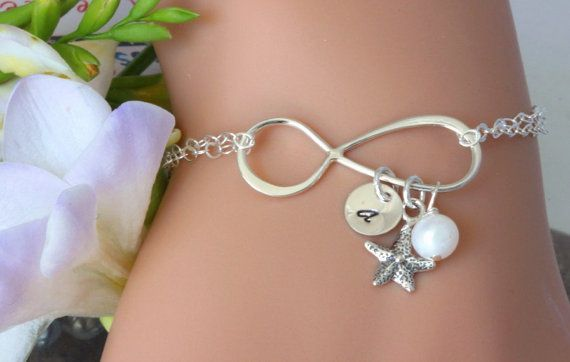 Sterling Sinler Infinity Bracelet. Starfish Bracelet,Intial Bracelet,Persaonalized Initial Bracelet,Infinitiy Pearl Bracelet.Bridesmaid gift on Etsy, $36.50