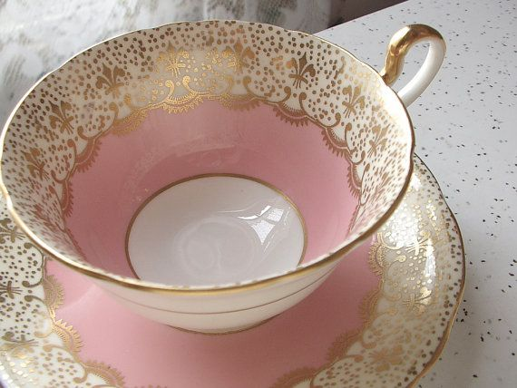 Antique Aynsley pink tea cup set, vintage English tea set, pink and gold fleur de lis tea cup and saucer, bone china tea cup set