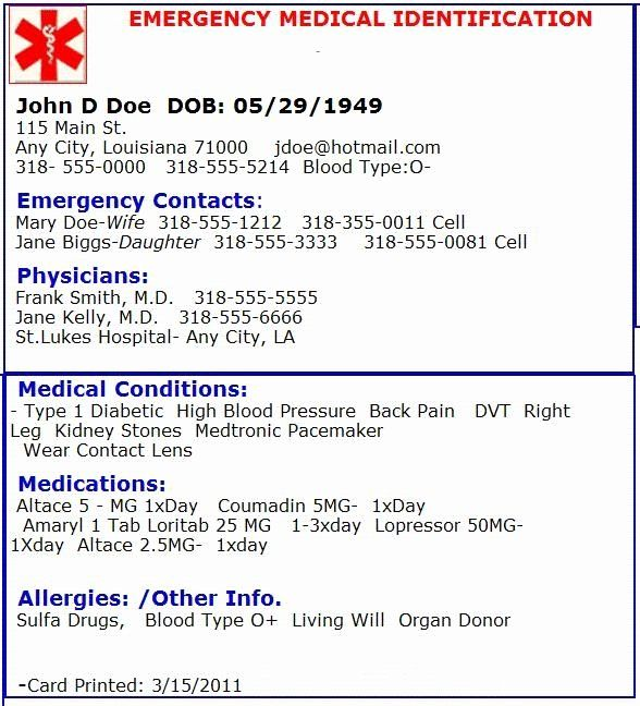 Medical Wallet Card Template Lovely Emergency Medical Card Emergency Preperation Contact Card Template Contact Card Id Card Template