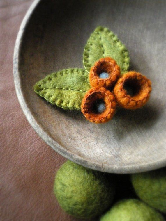 felted wool brooch  orange blooms and moss by lilfishstudios