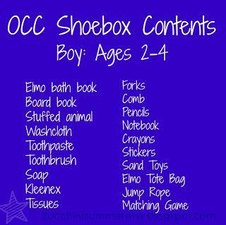 operation christmas child, OCC, samaritan's purse, boy box for OCC, operation christmas child shoebox 2-4