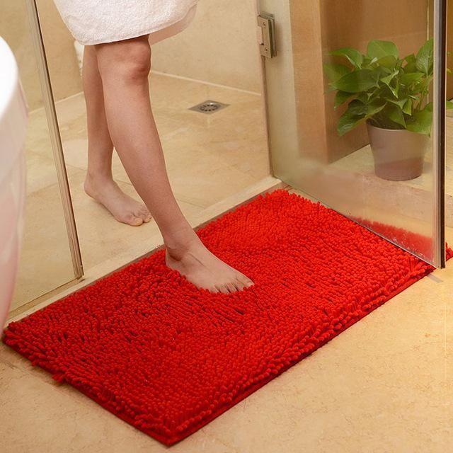 Thick Shaggy Non Slip Chenille Bathroom Rug Floor Mat Bathroom