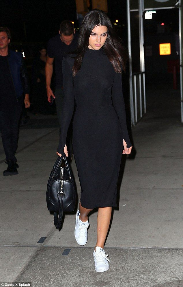 Changing it up: Kendall actually showed up in yet another outfit for the meal, a simple bl...