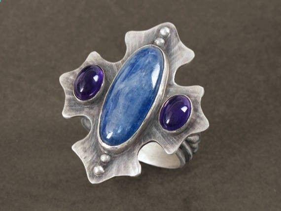 Medieval Cross Statement Ring in Silver w/ Amethyst and Kyanite Gemstones by Leslie Zemenek