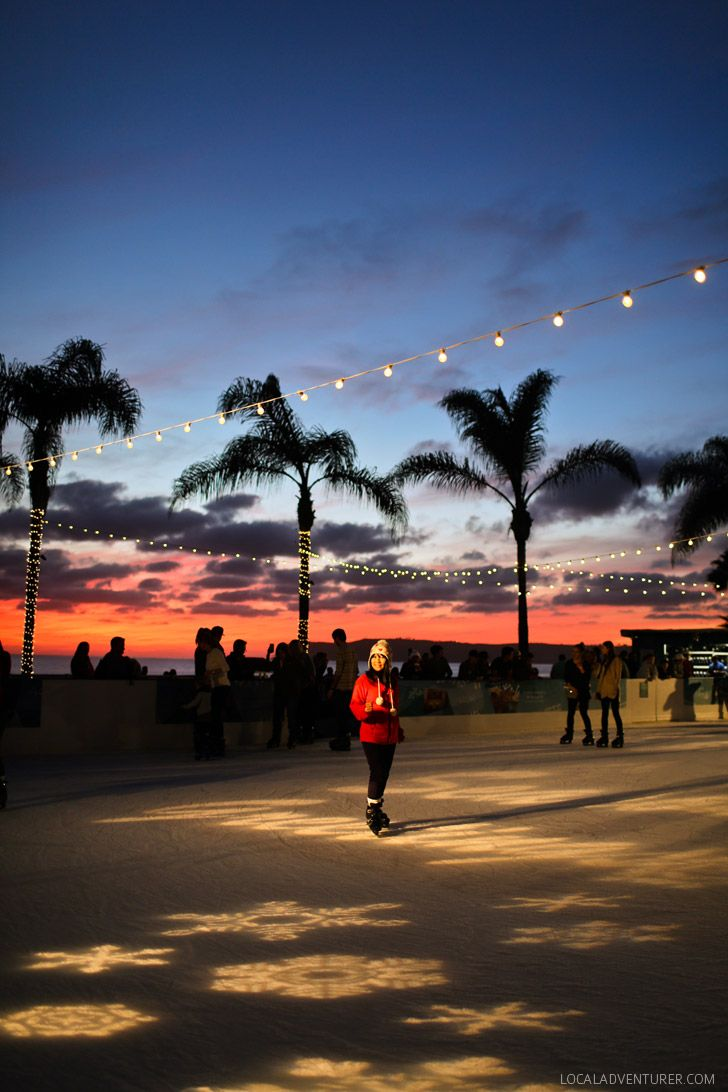 The best way to spend a winter evening in San Diego is at Hotel Del Coronado where you can ice skate while watching the sun set over the ocean.