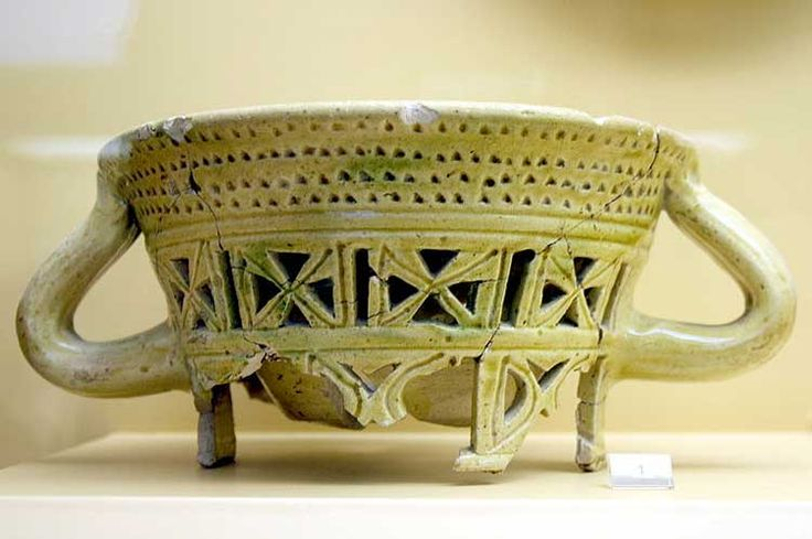 Byzantine chafing dish with cut-work decoration, dating from the 10th/11th century Ancient Agora Museum (Athens)
