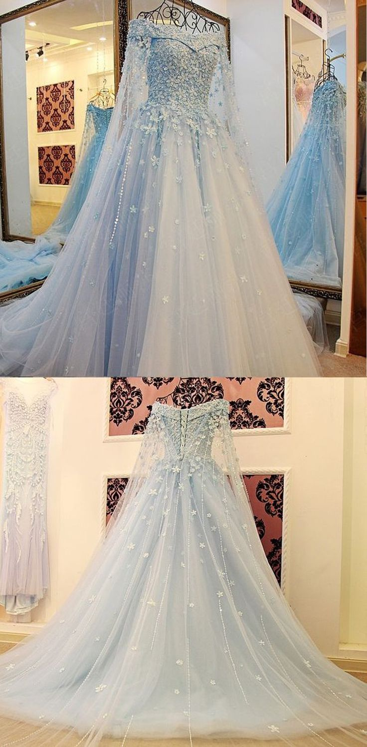 Ice Blue Prom Dresses, Off the Shoulder Prom Dresses, Women's Prom Dresses,Long Sleeve Evening Dress,Appliques Tulle Formal Dress,Prom Dresses,SY45