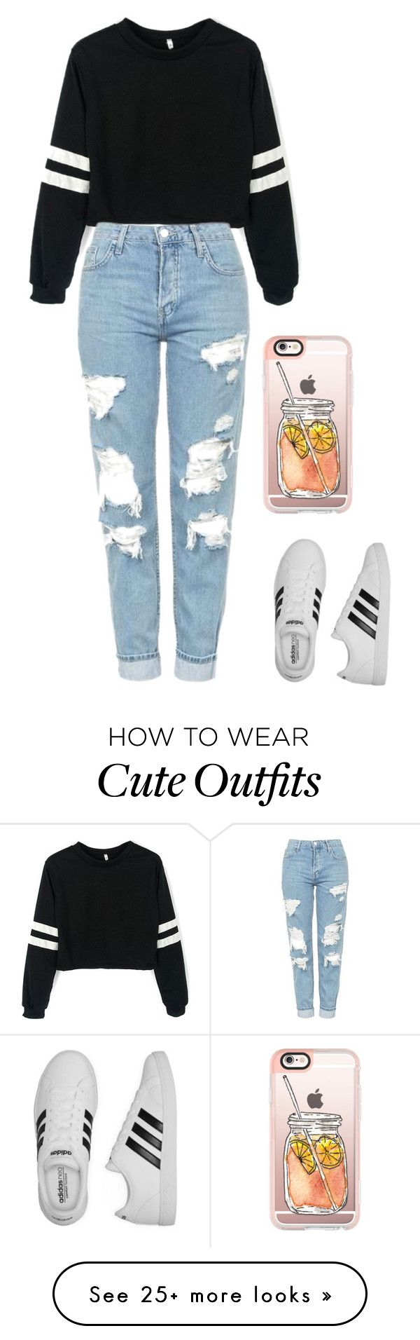"""Cute, casual, and comfortable outfit for every day."" by madelinepiovesan on Polyvore featuring Topshop, adidas and Casetify"