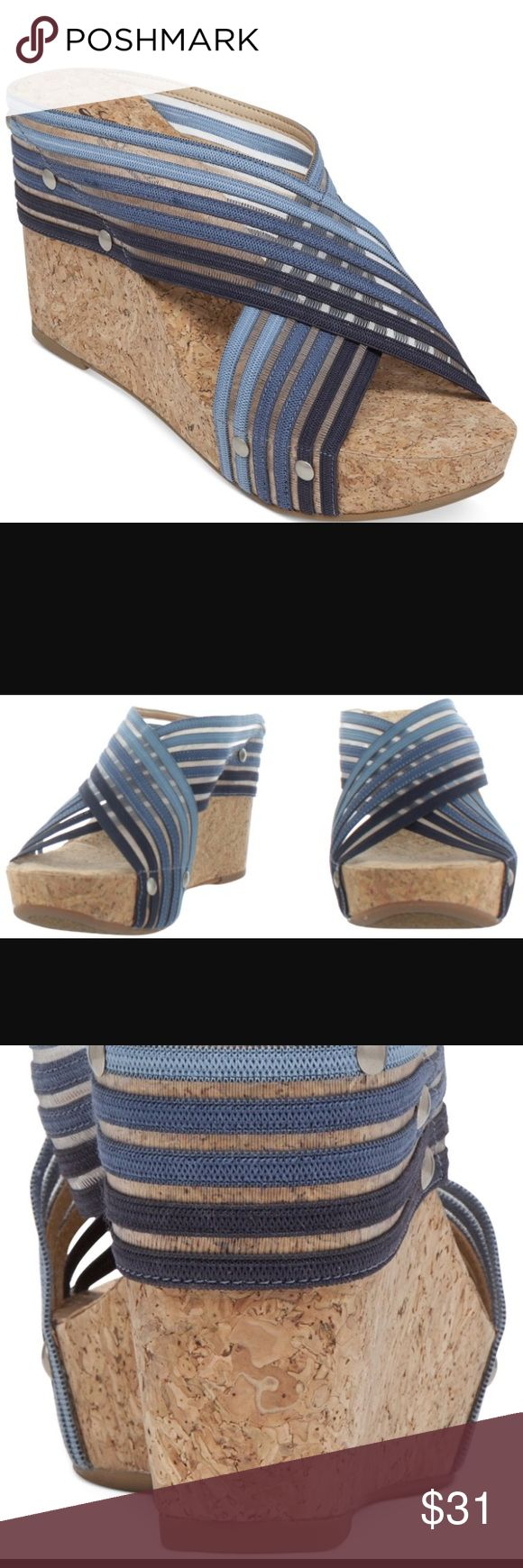 """Lucky Brand cork sandal Lucky Brand """"Miller"""" cork sandal...mesh fabric, with a variety of blues with silver studs. Approx. 4"""" Lucky Brand Shoes Wedges"""