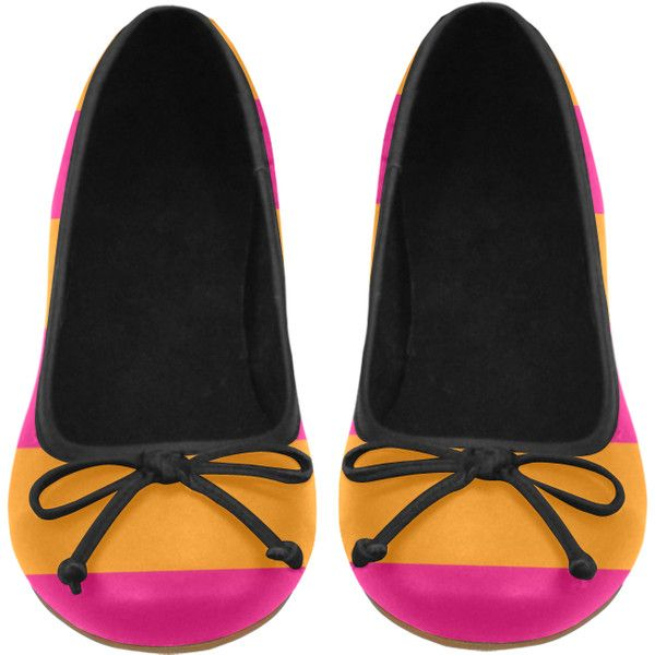 Pink Orange Stripes Juno Ballet Pumps (Model 312) (€44) ❤ liked on Polyvore featuring shoes, pumps, stripe, ballet flat shoes, ballet pumps, pink pumps, pink shoes and ballet shoes