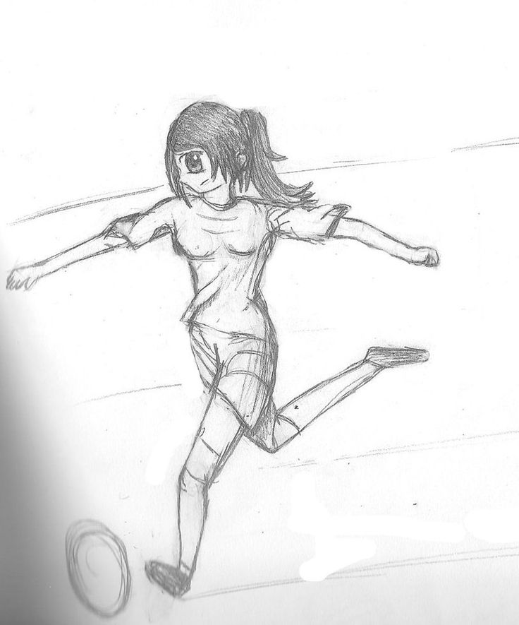 It is a picture of Eloquent Girl Playing Soccer Drawing